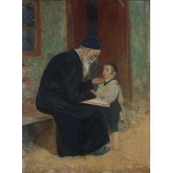 The Lesson by Lazar Krestin | Jewish Art Oil Painting Gallery