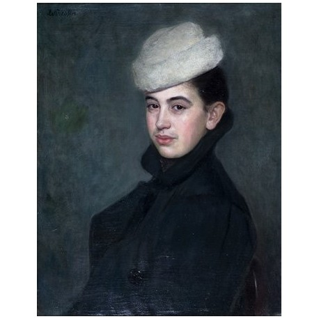Woman with a White Hat by Lazar Krestin | Jewish Art Oil Painting Gallery