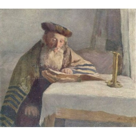 Old Jewish Man Reading Book by Lazar Krestin | Jewish Art Oil Painting Gallery