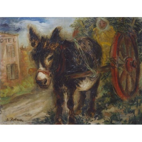 Donkey and Wagon by Issachar Ber Ryback Jewish Art Oil Painting Gallery