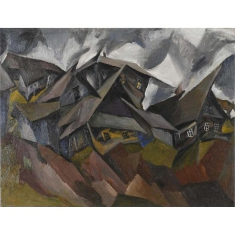 Houses in a Small Town by Issachar Ber Ryback Jewish Art Oil Painting Gallery
