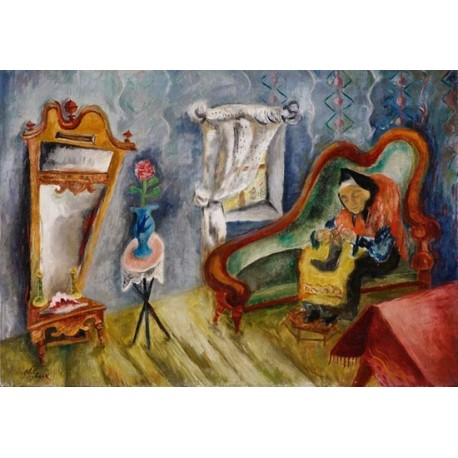Interior with Woman Knitting by Issachar Ber Ryback Jewish Art Oil Painting Gallery