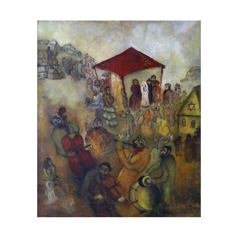 Jewish wedding by issachar ber ryback oil painting for Israeli artists oil paintings