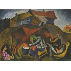 Milking a Cow by Issachar Ber Ryback Jewish Art Oil Painting Gallery