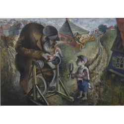 Sharpening by Issachar Ber Ryback Jewish Art Oil Painting Gallery