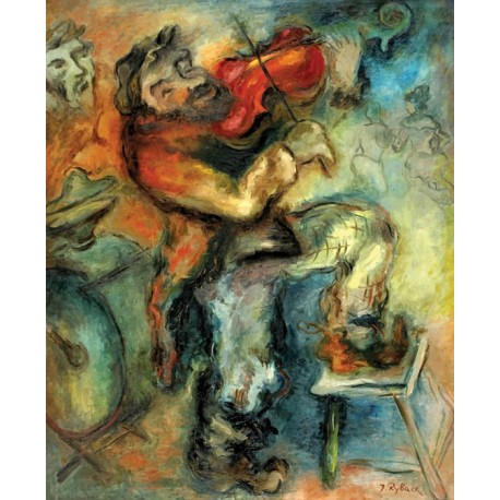 The fiddler by issachar ber ryback oil painting jewish for Israeli artists oil paintings