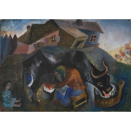 The Milker by Issachar Ber Ryback Jewish Art Oil Painting Gallery