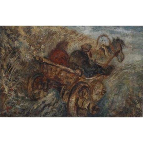 Two on the Carriage by Issachar Ber Ryback Jewish Art Oil Painting Gallery
