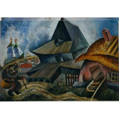 Village Scene by Issachar Ber Ryback Jewish Art Oil Painting Gallery