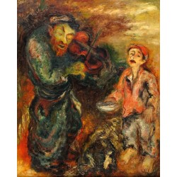 Viiolinist and a Boy by Issachar Ber Ryback Jewish Art Oil Painting Gallery