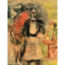 Waiter in a Restaurant by Issachar Ber Ryback Jewish Art Oil Painting Gallery