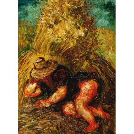 Woman in Hay by Issachar Ber Ryback Jewish Art Oil Painting Gallery