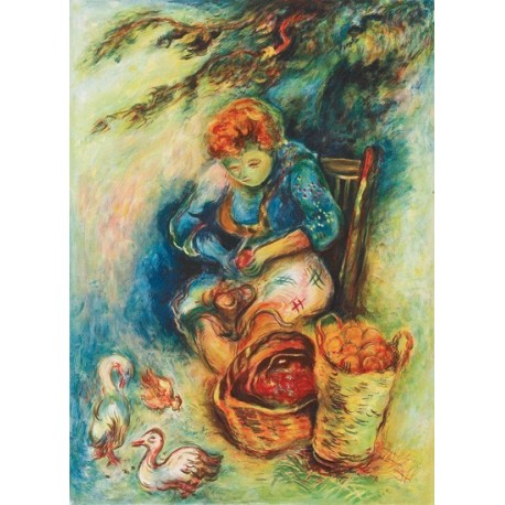 Woman Peeling Potatos by Issachar Ber Ryback Jewish Art Oil Painting Gallery