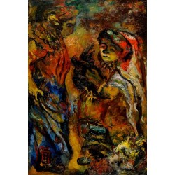 Women and a Cockerel by Issachar Ber Ryback Jewish Art Oil Painting Gallery