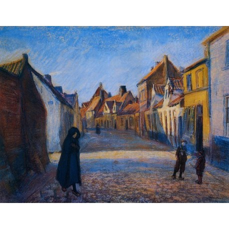 Ray of Sunlight in the Street of Brugge, 1920 by Artur Markowicz -Jewish Art Oil Painting Gallery