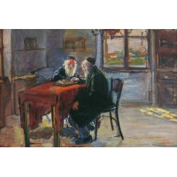 Chess Players, 1926 by Artur Markowicz -Jewish Art Oil Painting Gallery