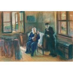 Grajek, 1927 by Artur Markowicz -Jewish Art Oil Painting Gallery