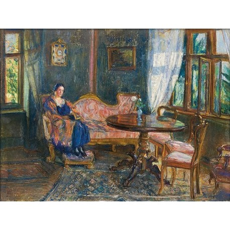 In Salon, Portrait of Wife 1924 by Artur Markowicz -Jewish Art Oil Painting Gallery