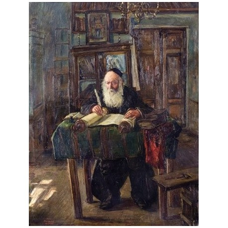 Scripture Copyist in his Chamber by Artur Markowicz -Jewish Art Oil Painting Gallery