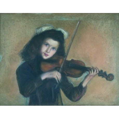 Small Violinist by Artur Markowicz -Jewish Art Oil Painting Gallery