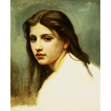 Study of a Girls Head by William Adolphe Bouguereau - Art gallery oil painting reproductions