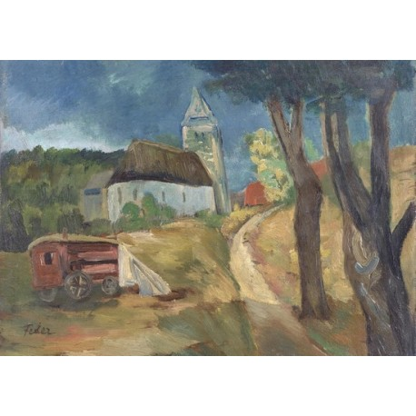 Village Landscape with Carriage by Adolphe Feder - Jewish Art Oil Painting Gallery