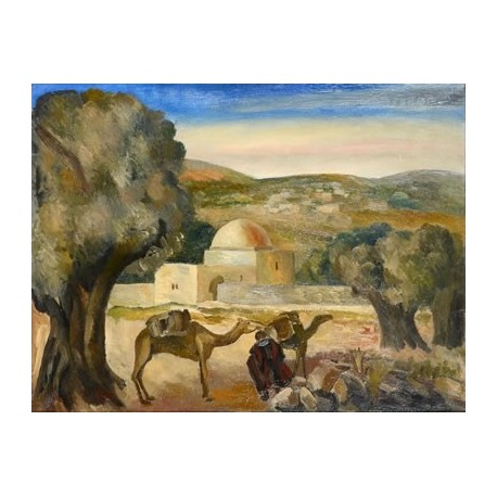 Kever Rachel by Adolphe Feder - Jewish Art Oil Painting Gallery