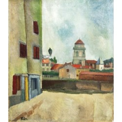 Lamp Post by Adolphe Feder - Jewish Art Oil Painting Gallery