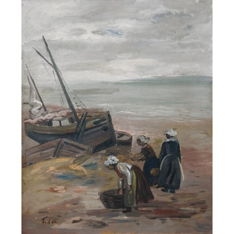 The Fishermen Wives by Adolphe Feder - Jewish Art Oil Painting Gallery