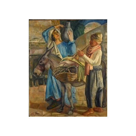 Water Carrier and Musician by Adolphe Feder - Jewish Art Oil Painting Gallery