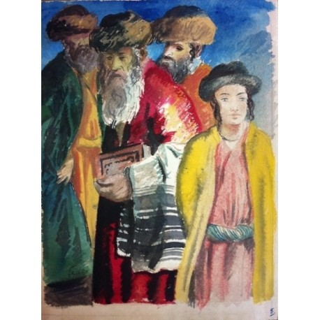 Rabbis by Adolphe Feder - Jewish Art Oil Painting Gallery