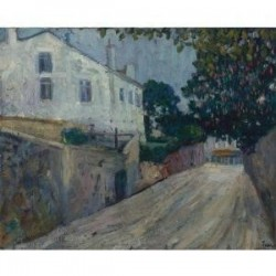 Street Scene by Adolphe Feder - Jewish Art Oil Painting Gallery