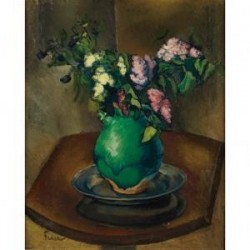 Still Life of Lilacs in a Green Jug by Adolphe Feder - Jewish Art Oil Painting Gallery