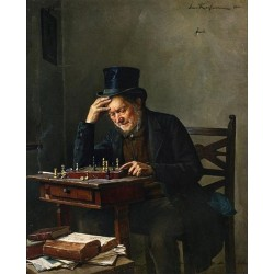 Chess Player by Isidor Kaufmann - Jewish Art Oil Painting Gallery
