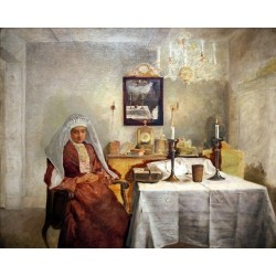 Friday Evening by Isidor Kaufmann - Jewish Art Oil Painting Gallery