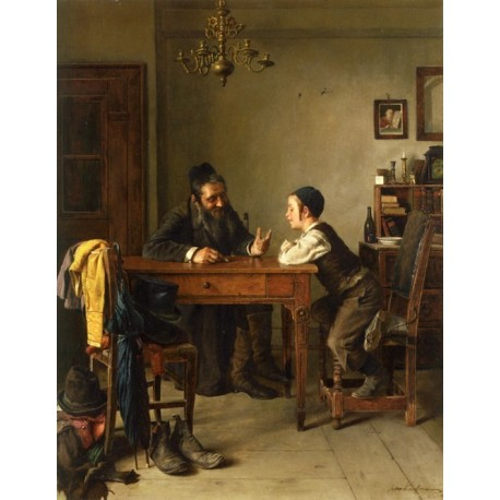 Commercial Instruction by Isidor Kaufmann - Jewish Art Oil Painting Gallery
