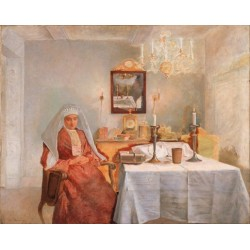 Friday Evening I by Isidor Kaufmann - Jewish Art Oil Painting Gallery