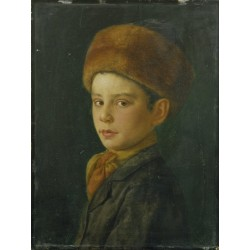 Portrait of a Boy by Isidor Kaufmann - Jewish Art Oil Painting Gallery