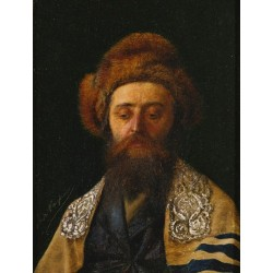 Portrait of a Rabbi with Tallit by Isidor Kaufmann - Jewish Art Oil Painting Gallery