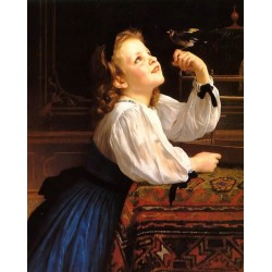 The Pet Bird by William Adolphe Bouguereau - Art gallery oil painting reproductions