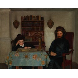 Rabbi with Young Student by Isidor Kaufmann - Jewish Art Oil Painting Gallery