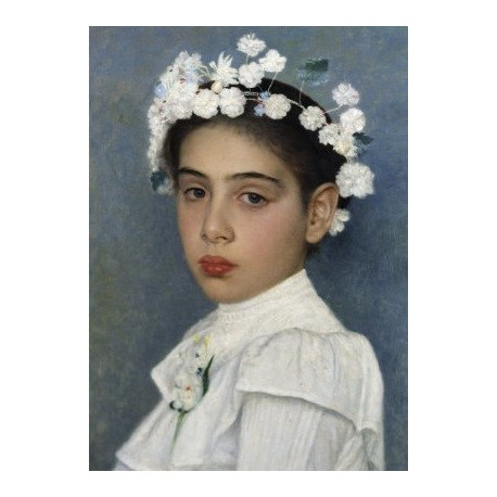 Girl with Flowers in her Hair by Isidor Kaufmann - Jewish Art Oil Painting Gallery