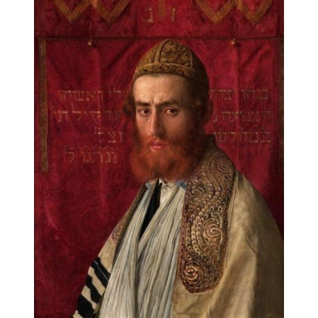 Portrait of a Rabbi Wearing a Kittel and Tallit by Isidor Kaufmann - Jewish Art Oil Painting Gallery