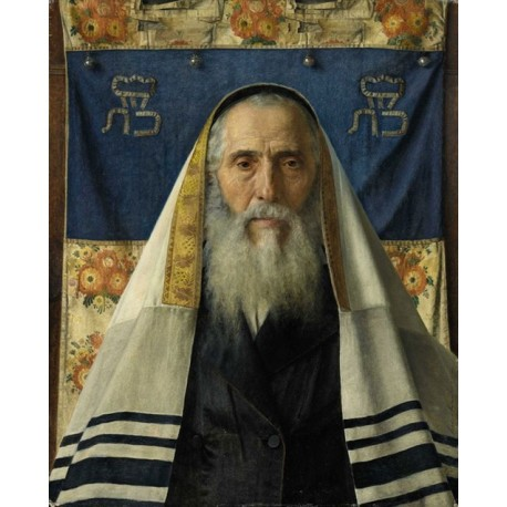 Rabbi with Prayer Shawl by Isidor Kaufmann - Jewish Art Oil Painting Gallery