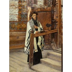 Reading Rabbi in the Courts of the Temple  by Isidor Kaufmann - Jewish Art Oil Painting Gallery