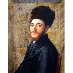 Man with Fur Hat by Isidor Kaufmann - Jewish Art Oil Painting Gallery