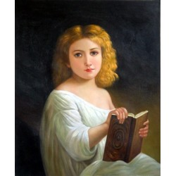The Story Book by  William Adolphe Bouguereau - Art gallery oil painting reproductions