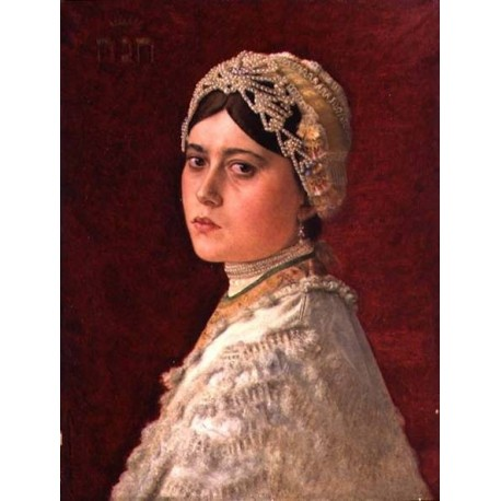 Portrait of artist's Daughter Hannah by Isidor Kaufmann - Jewish Art Oil Painting Gallery