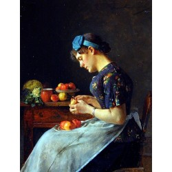 Young Woman Peeling Apples by Isidor Kaufmann - Jewish Art Oil Painting Gallery