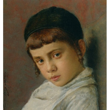 Portrait of a Nice Jewish Boy with Peyot by Isidor Kaufmann - Jewish Art Oil Painting Gallery